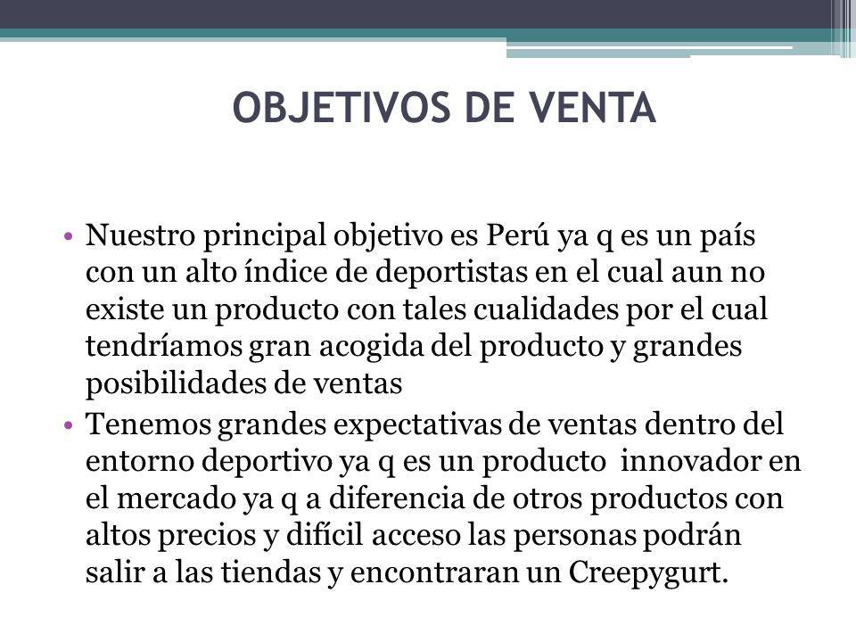 OBJETIVOS DE VENTA Nuestro principal objetivo es Perú ya q es un país con un alto índice de deportistas en el cual aun no existe un producto con tales cualidades por el cual tendríamos gran acogida del producto y grandes posibilidades de ventas Tenemos grandes expectativas de ventas dentro del entorno deportivo ya q es un producto innovador en el mercado ya q a diferencia de otros productos con altos precios y difícil acceso las personas podrán salir a las tiendas y encontraran un Creepygurt.