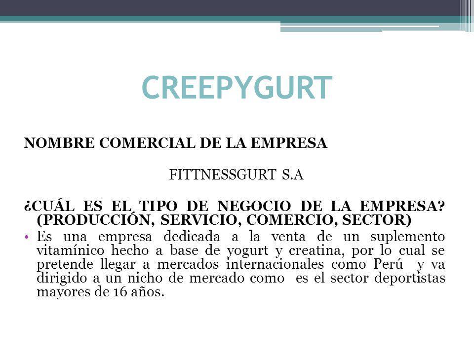 CREEPYGURT NOMBRE COMERCIAL DE LA EMPRESA FITTNESSGURT S.A ¿CUÁL ES EL TIPO DE NEGOCIO DE LA EMPRESA.