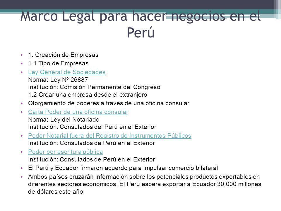 Marco Legal para hacer negocios en el Perú 1.