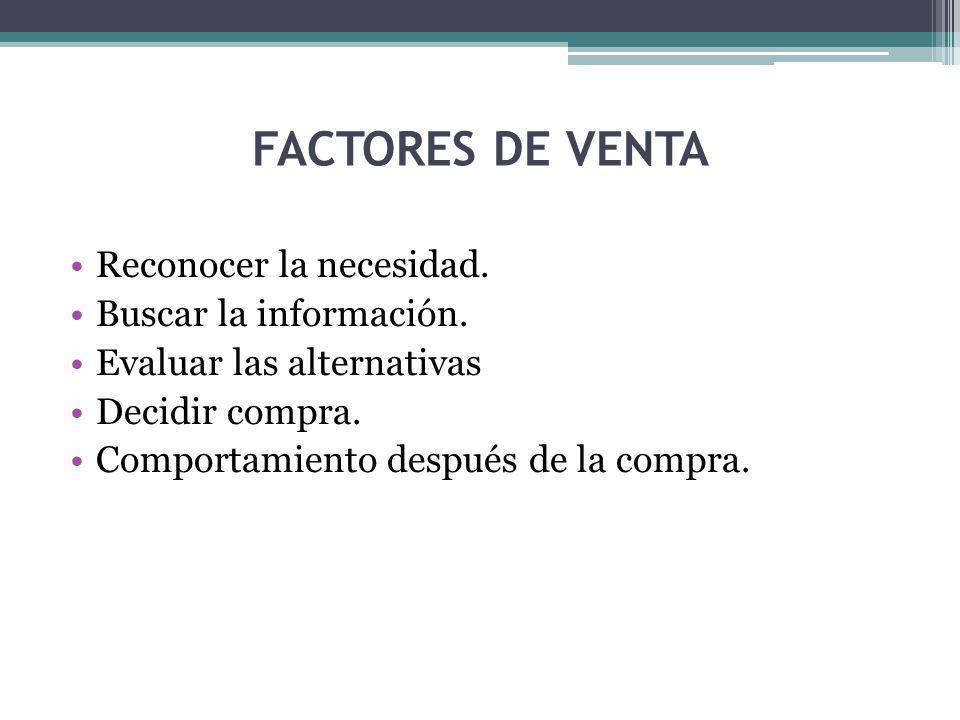 FACTORES DE VENTA Reconocer la necesidad.Buscar la información.