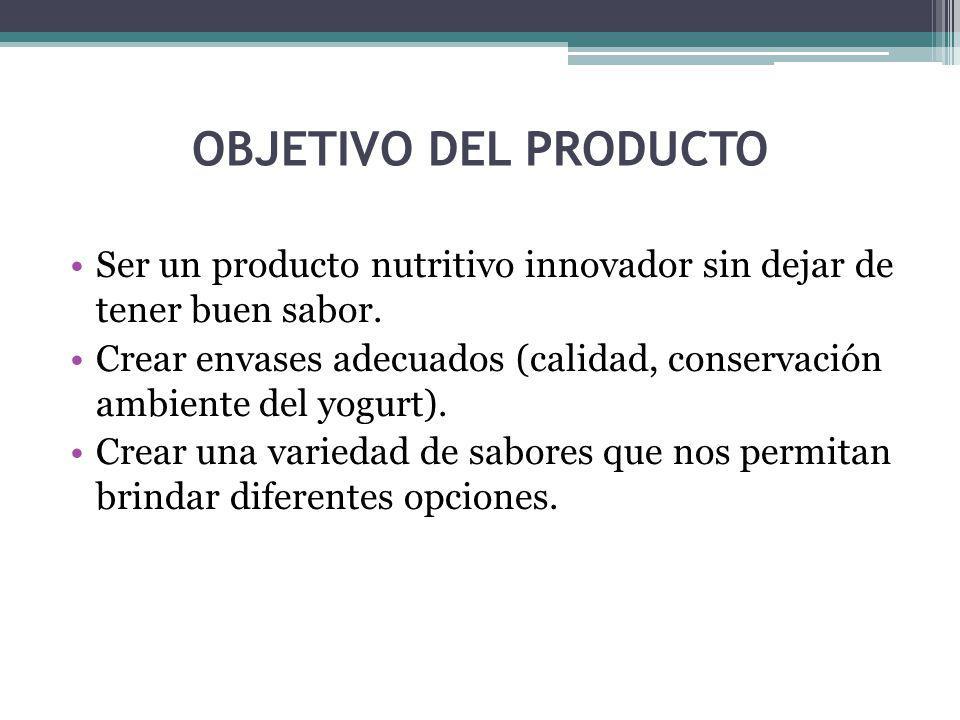 OBJETIVO DEL PRODUCTO Ser un producto nutritivo innovador sin dejar de tener buen sabor.