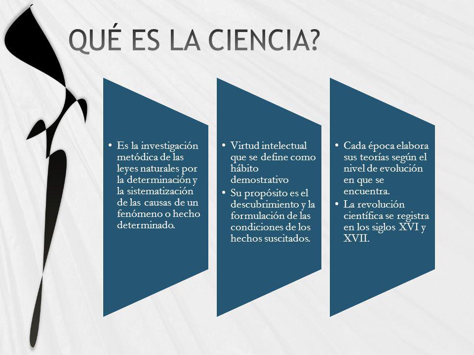 Es la investigación metódica de las leyes naturales por la determinación y la sistematización de las causas de un fenómeno o hecho determinado. Virtud