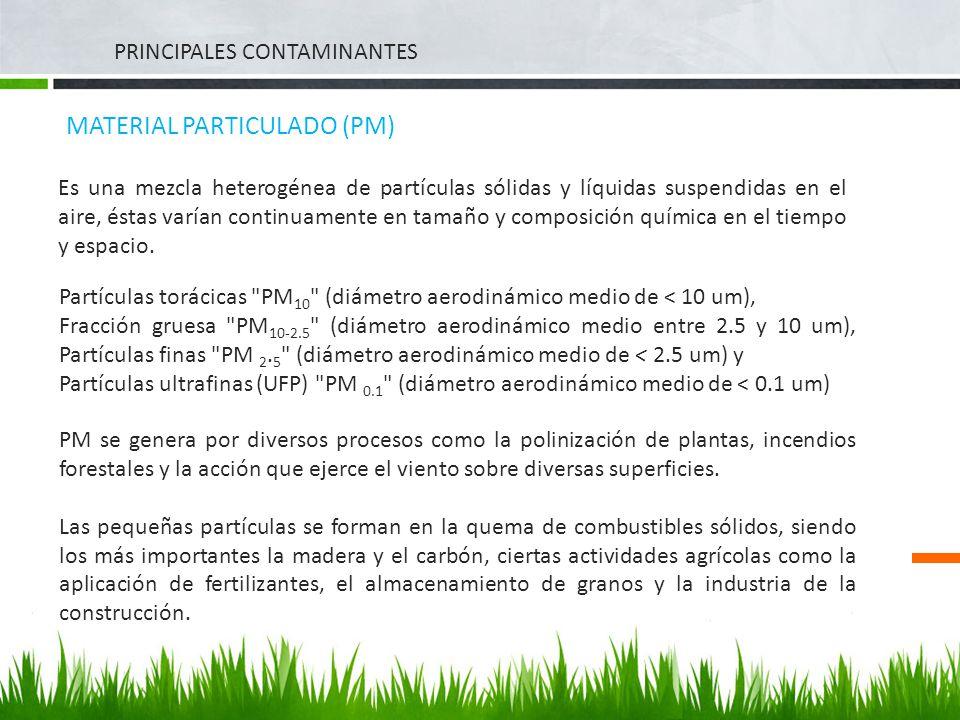 PRINCIPALES CONTAMINANTES MATERIAL PARTICULADO (PM) Es una mezcla heterogénea de partículas sólidas y líquidas suspendidas en el aire, éstas varían co