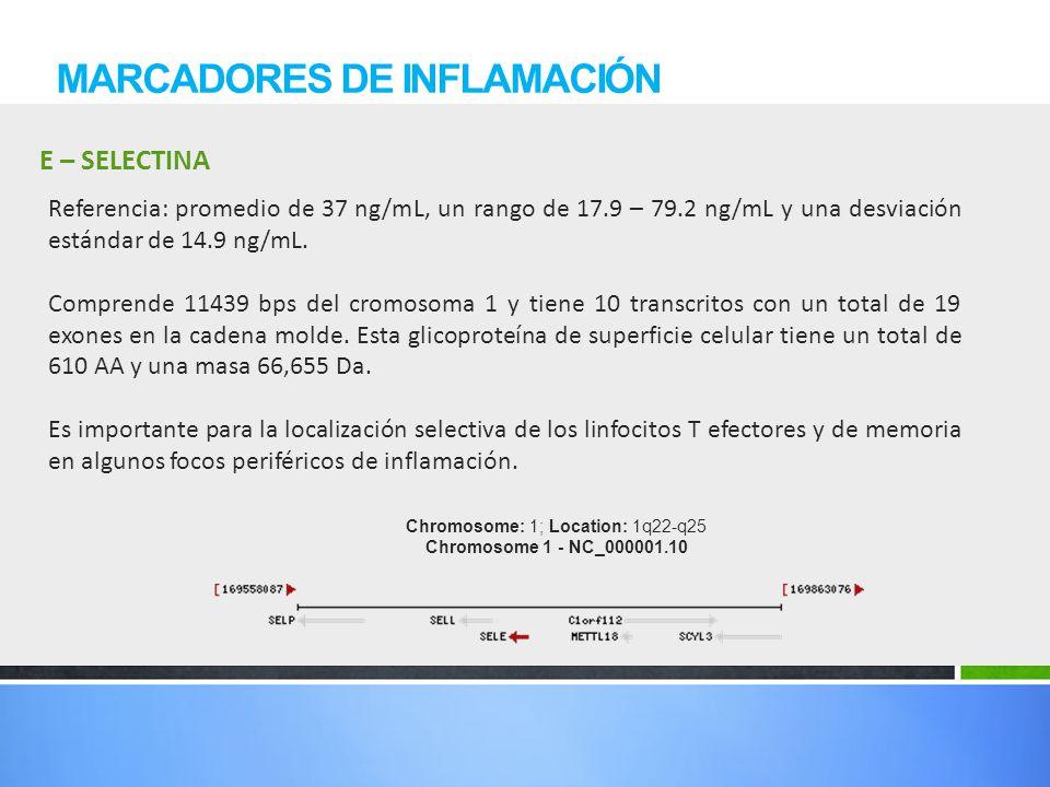 E – SELECTINA MARCADORES DE INFLAMACIÓN Referencia: promedio de 37 ng/mL, un rango de 17.9 – 79.2 ng/mL y una desviación estándar de 14.9 ng/mL. Compr