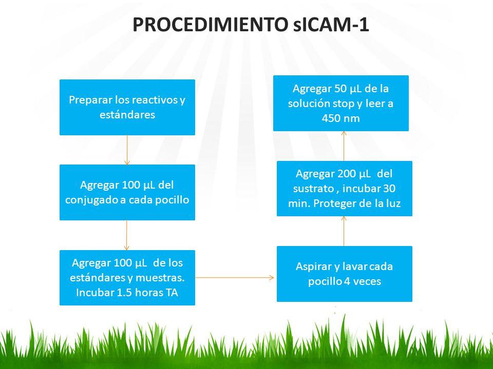 PROCEDIMIENTO sICAM-1 Preparar los reactivos y estándares Agregar 100 µL del conjugado a cada pocillo Agregar 100 µL de los estándares y muestras. Inc
