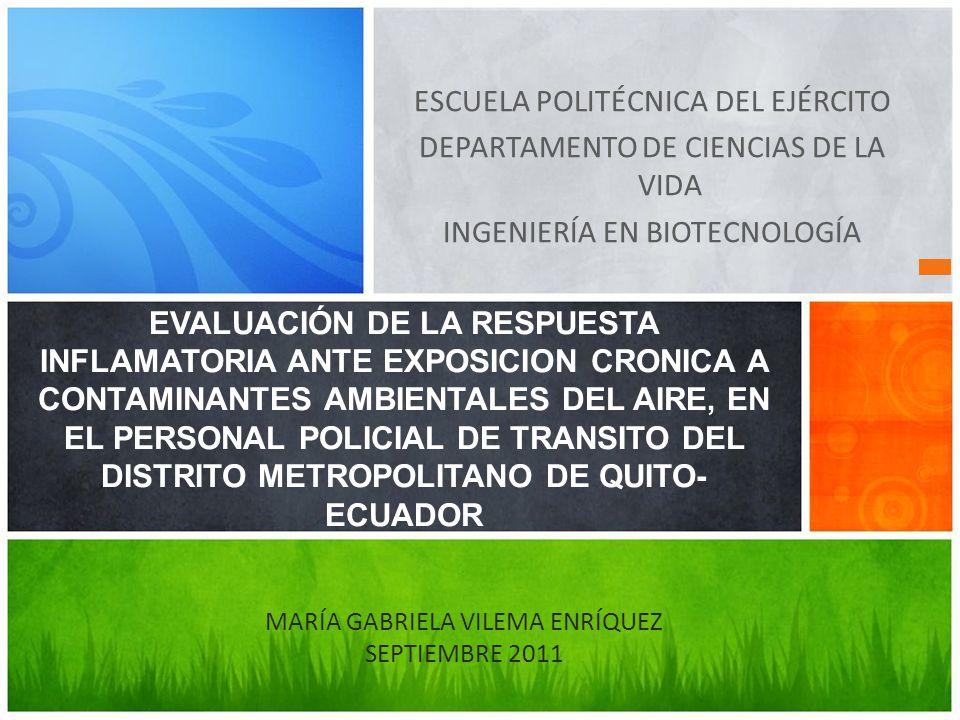 ESCUELA POLITÉCNICA DEL EJÉRCITO DEPARTAMENTO DE CIENCIAS DE LA VIDA INGENIERÍA EN BIOTECNOLOGÍA EVALUACIÓN DE LA RESPUESTA INFLAMATORIA ANTE EXPOSICI