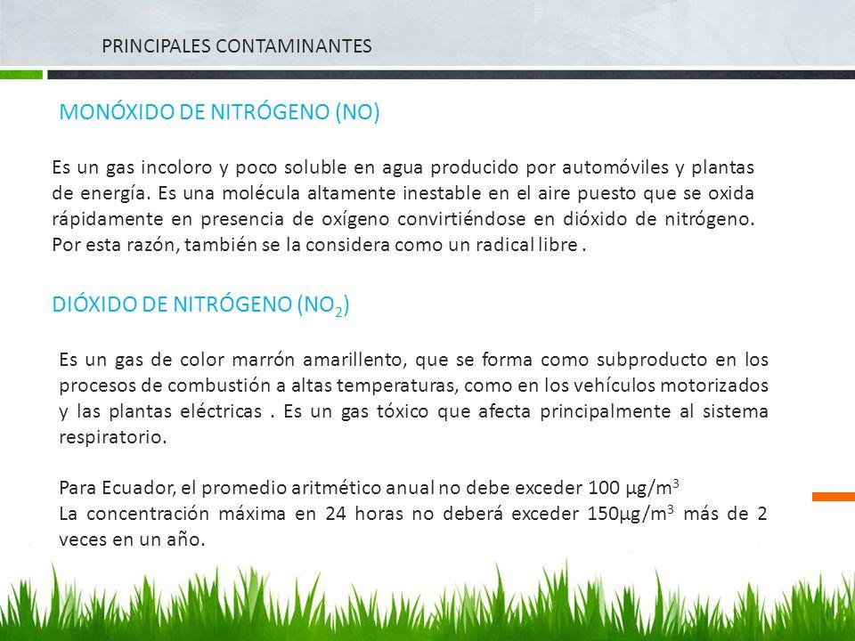 PRINCIPALES CONTAMINANTES MONÓXIDO DE NITRÓGENO (NO) Es un gas incoloro y poco soluble en agua producido por automóviles y plantas de energía. Es una