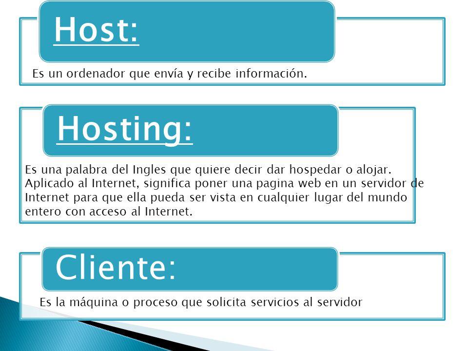 Host: Hosting: Cliente: Es un ordenador que envía y recibe información.