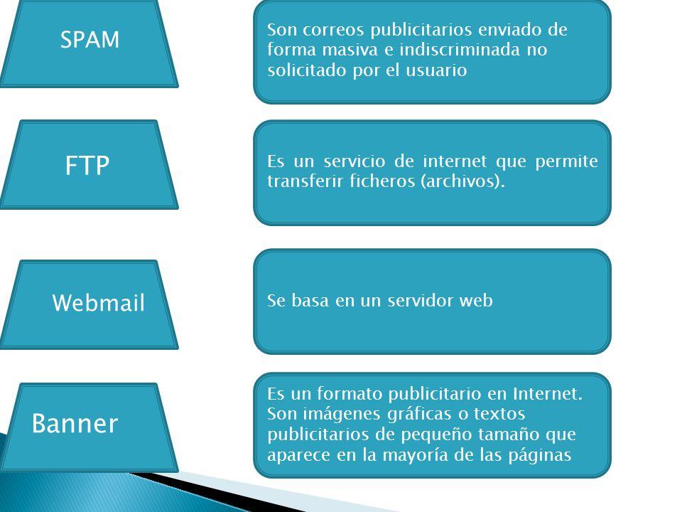 Son correos publicitarios enviado de forma masiva e indiscriminada no solicitado por el usuario Es un servicio de internet que permite transferir ficheros (archivos).