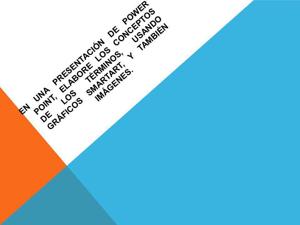 EN UNA PRESENTACIÓN DE POWER POINT, ELABORE LOS CONCEPTOS DE LOS TÉRMINOS, USANDO GRÁFICOS SMARTART, Y TAMBIÉN IMÁGENES.