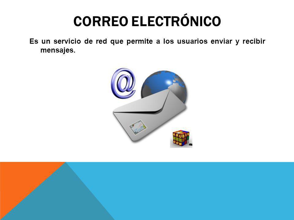 CORREO ELECTRÓNICO Es un servicio de red que permite a los usuarios enviar y recibir mensajes.
