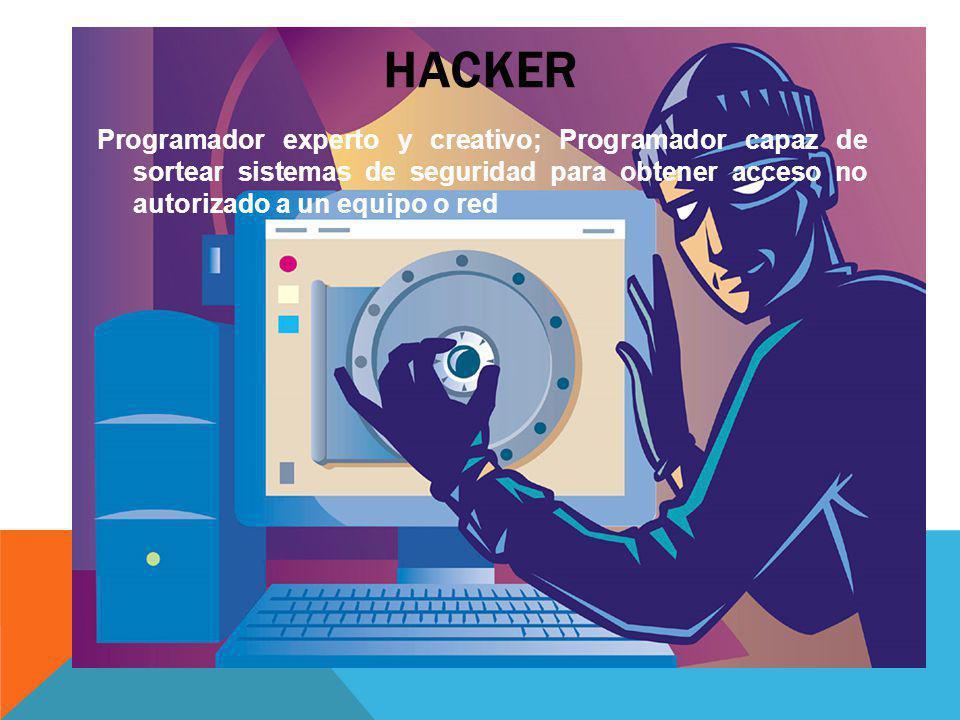 HACKER Programador experto y creativo; Programador capaz de sortear sistemas de seguridad para obtener acceso no autorizado a un equipo o red