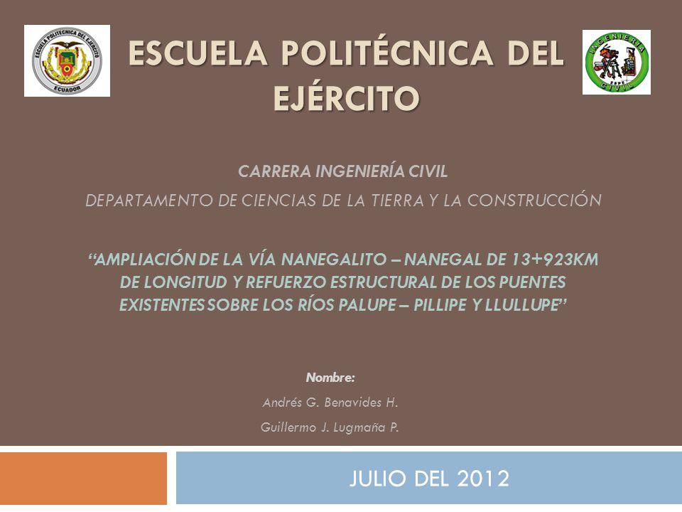 ESCUELA POLITÉCNICA DEL EJÉRCITO JULIO DEL 2012 CARRERA INGENIERÍA CIVIL DEPARTAMENTO DE CIENCIAS DE LA TIERRA Y LA CONSTRUCCIÓN AMPLIACIÓN DE LA VÍA