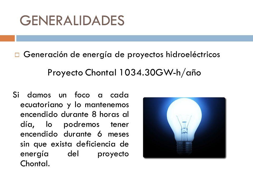 GENERALIDADES Si damos un foco a cada ecuatoriano y lo mantenemos encendido durante 8 horas al día, lo podremos tener encendido durante 6 meses sin qu