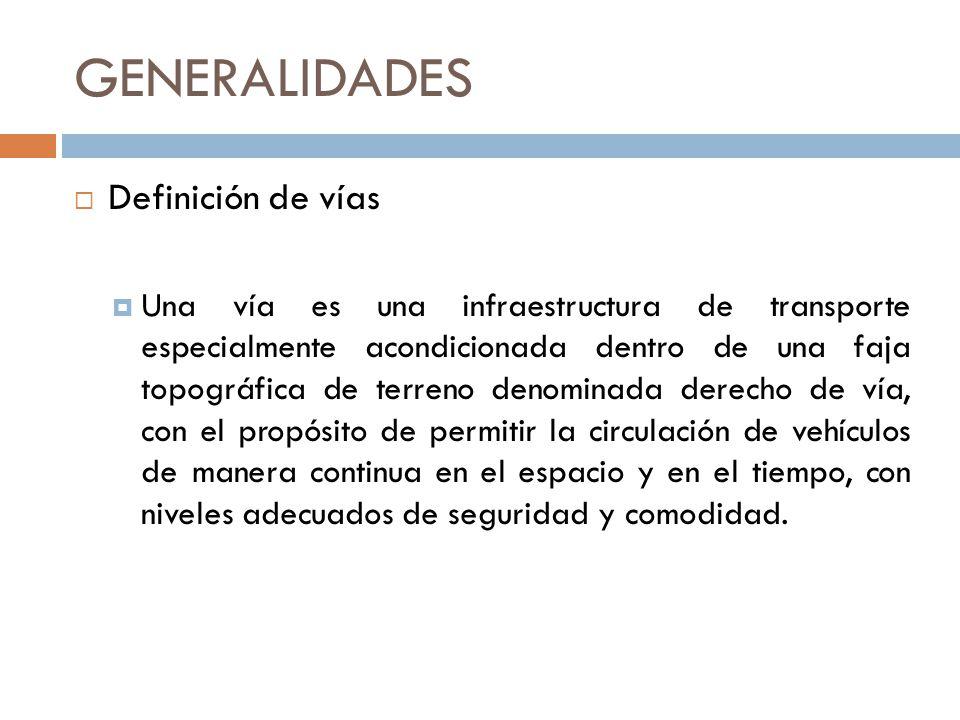 GENERALIDADES Definición de vías Una vía es una infraestructura de transporte especialmente acondicionada dentro de una faja topográfica de terreno de