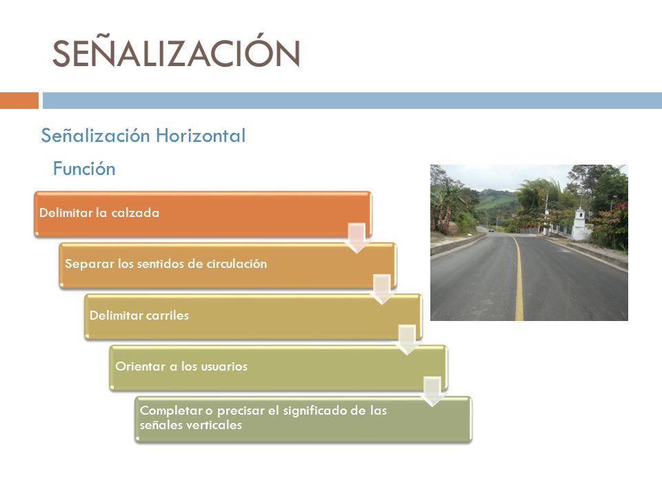 SEÑALIZACIÓN Señalización Horizontal Función Delimitar la calzadaSeparar los sentidos de circulaciónDelimitar carrilesOrientar a los usuarios Completa