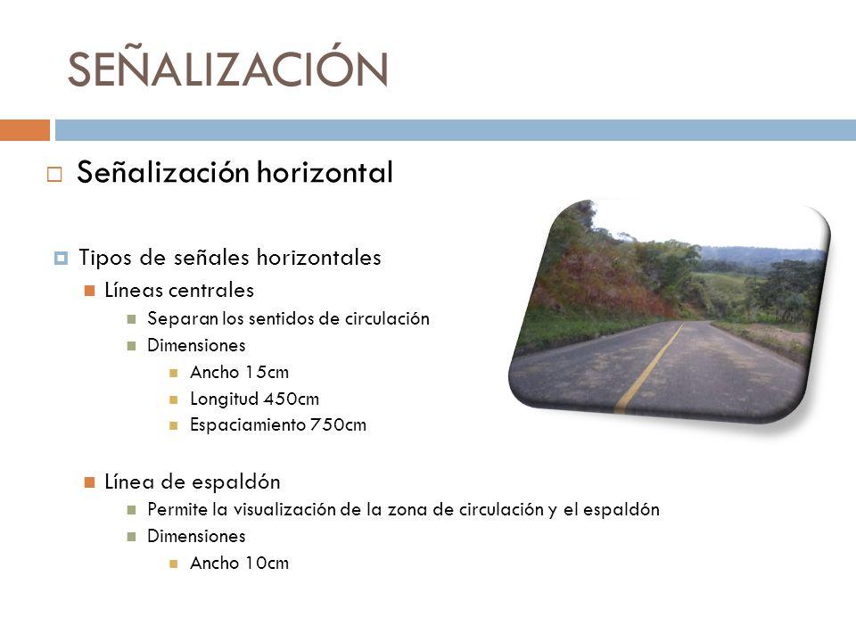 SEÑALIZACIÓN Tipos de señales horizontales Líneas centrales Separan los sentidos de circulación Dimensiones Ancho 15cm Longitud 450cm Espaciamiento 75