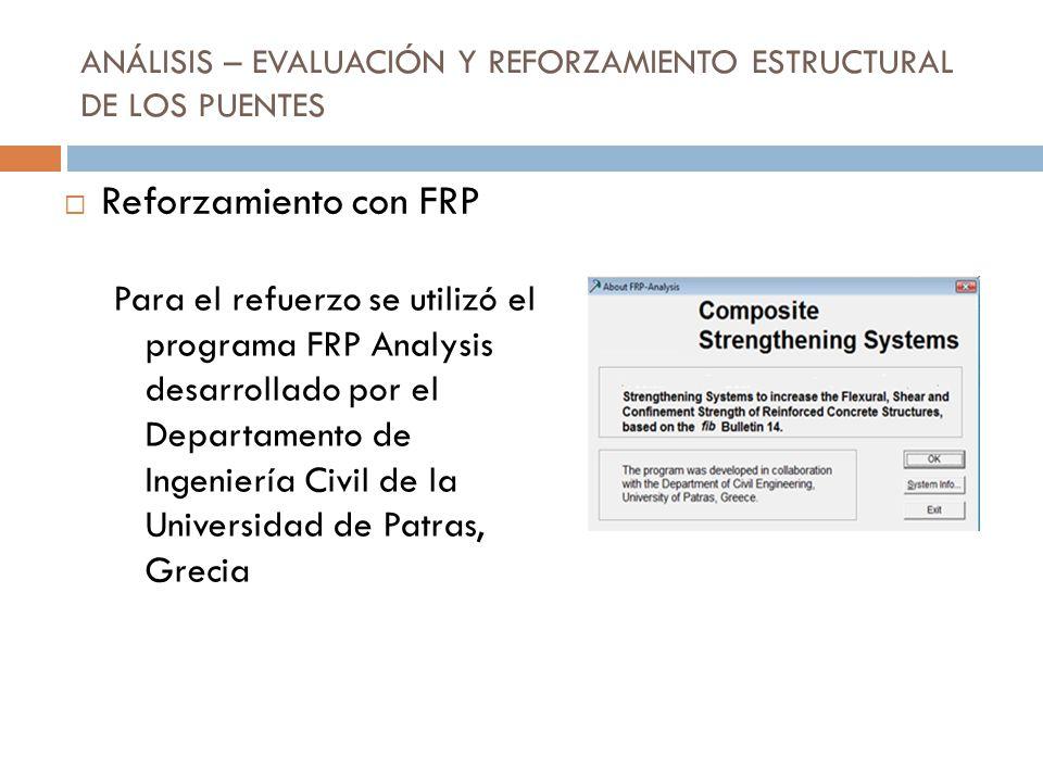 ANÁLISIS – EVALUACIÓN Y REFORZAMIENTO ESTRUCTURAL DE LOS PUENTES Para el refuerzo se utilizó el programa FRP Analysis desarrollado por el Departamento
