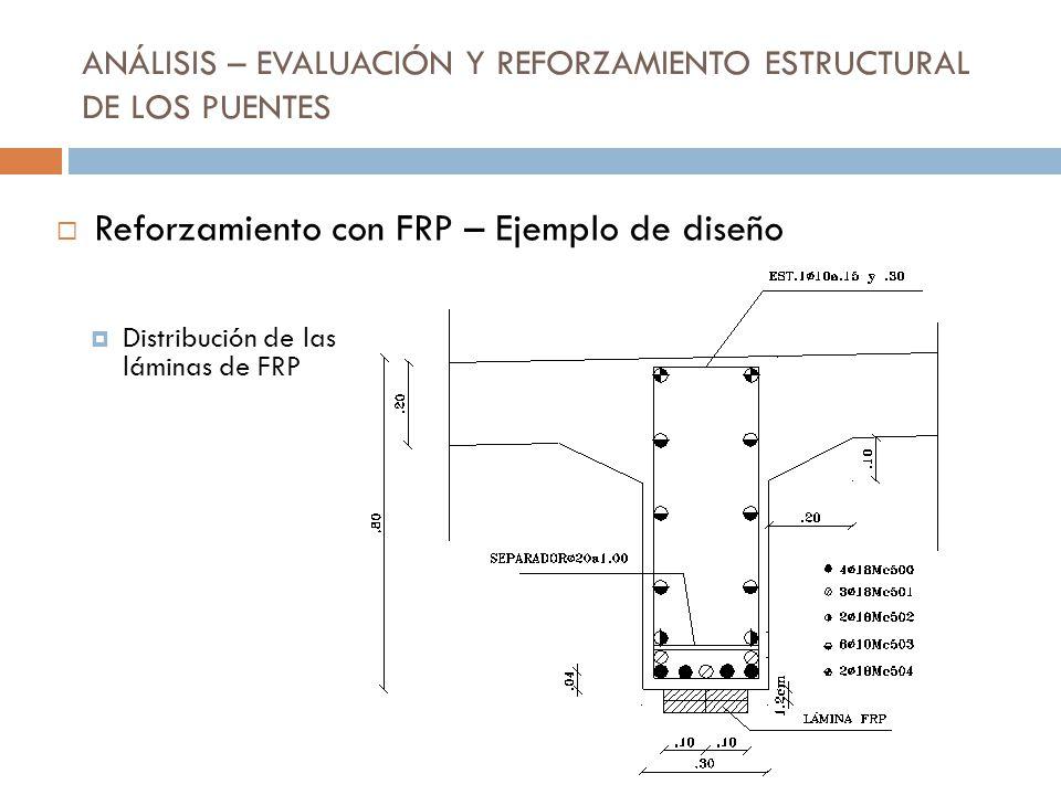 ANÁLISIS – EVALUACIÓN Y REFORZAMIENTO ESTRUCTURAL DE LOS PUENTES Distribución de las láminas de FRP Reforzamiento con FRP – Ejemplo de diseño