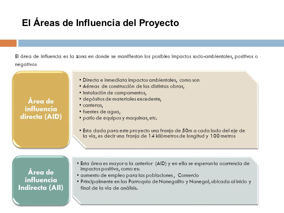 El Áreas de Influencia del Proyecto El área de influencia es la zona en donde se manifiestan los posibles impactos socio-ambientales, positivos o nega