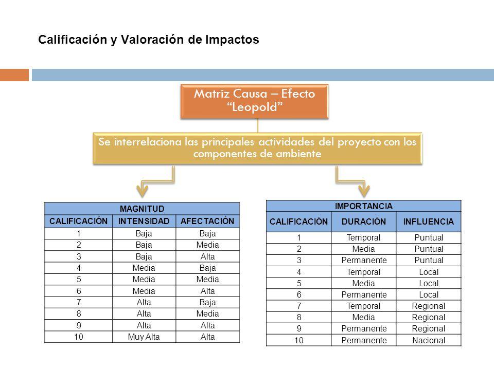 Calificación y Valoración de Impactos MAGNITUD CALIFICACIÓNINTENSIDADAFECTACIÓN 1Baja 2 Media 3BajaAlta 4MediaBaja 5Media 6 Alta 7 Baja 8AltaMedia 9Al