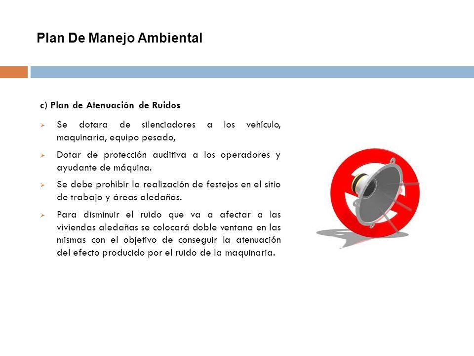 Plan De Manejo Ambiental c) Plan de Atenuación de Ruidos Se dotara de silenciadores a los vehículo, maquinaria, equipo pesado, Dotar de protección aud