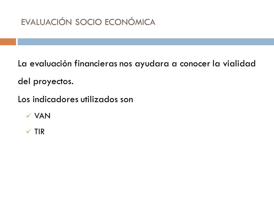 EVALUACIÓN SOCIO ECONÓMICA La evaluación financieras nos ayudara a conocer la vialidad del proyectos. Los indicadores utilizados son VAN TIR