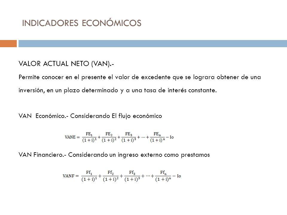 INDICADORES ECONÓMICOS VALOR ACTUAL NETO (VAN).- Permite conocer en el presente el valor de excedente que se lograra obtener de una inversión, en un p