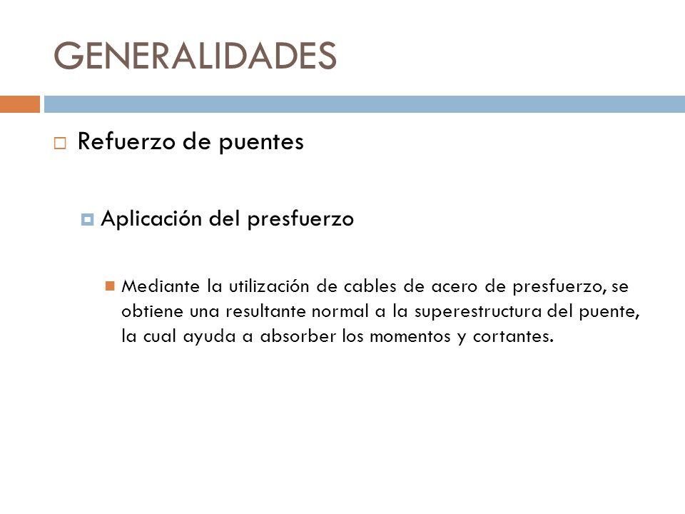 GENERALIDADES Refuerzo de puentes Aplicación del presfuerzo Mediante la utilización de cables de acero de presfuerzo, se obtiene una resultante normal