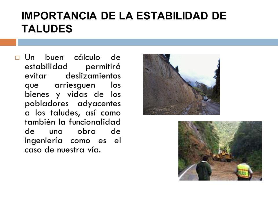 IMPORTANCIA DE LA ESTABILIDAD DE TALUDES Un buen cálculo de estabilidad permitirá evitar deslizamientos que arriesguen los bienes y vidas de los pobla