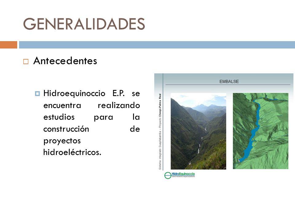 GENERALIDADES Antecedentes Hidroequinoccio E.P. se encuentra realizando estudios para la construcción de proyectos hidroeléctricos.