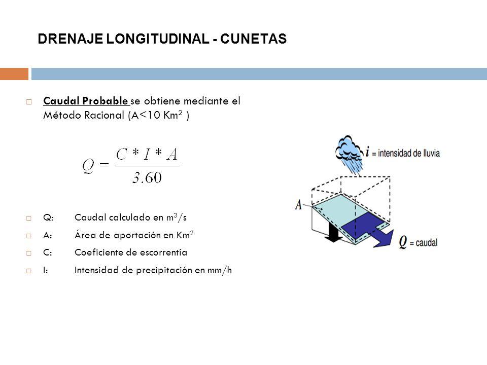 DRENAJE LONGITUDINAL - CUNETAS Caudal Probable se obtiene mediante el Método Racional (A<10 Km 2 ) Q:Caudal calculado en m 3 /s A:Área de aportación e