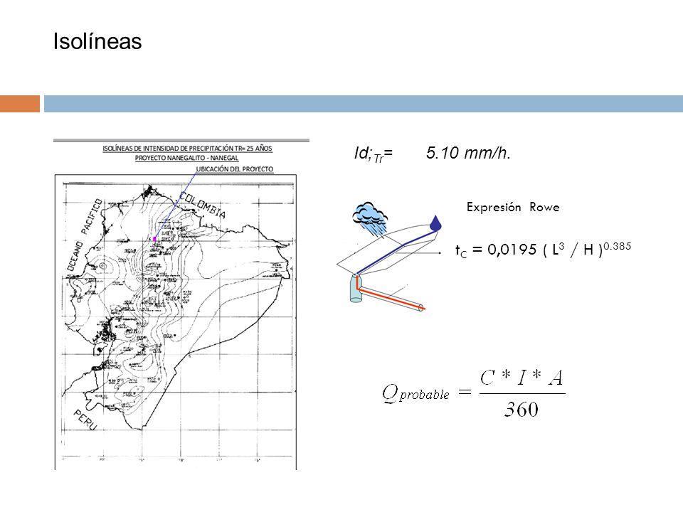 Isolíneas Id; Tr = 5.10 mm/h. t C = 0,0195 ( L 3 / H ) 0.385 Expresión Rowe