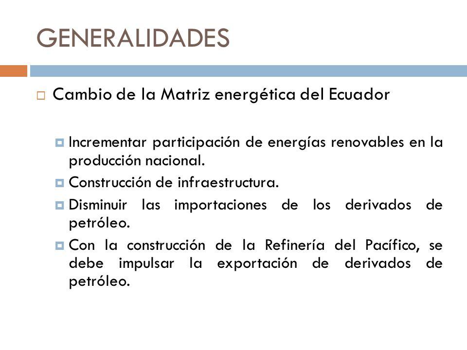 GENERALIDADES Cambio de la Matriz energética del Ecuador Incrementar participación de energías renovables en la producción nacional. Construcción de i