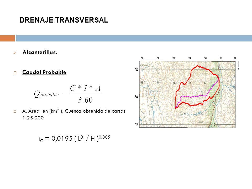 DRENAJE TRANSVERSAL Alcantarillas. Caudal Probable A: Área en (km 2 ), Cuenca obtenida de cartas 1:25 000 t C = 0,0195 ( L 3 / H ) 0.385