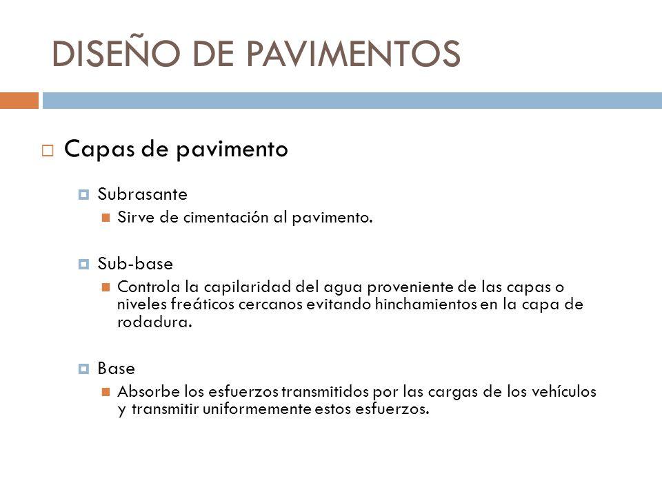 DISEÑO DE PAVIMENTOS Subrasante Sirve de cimentación al pavimento. Sub-base Controla la capilaridad del agua proveniente de las capas o niveles freáti