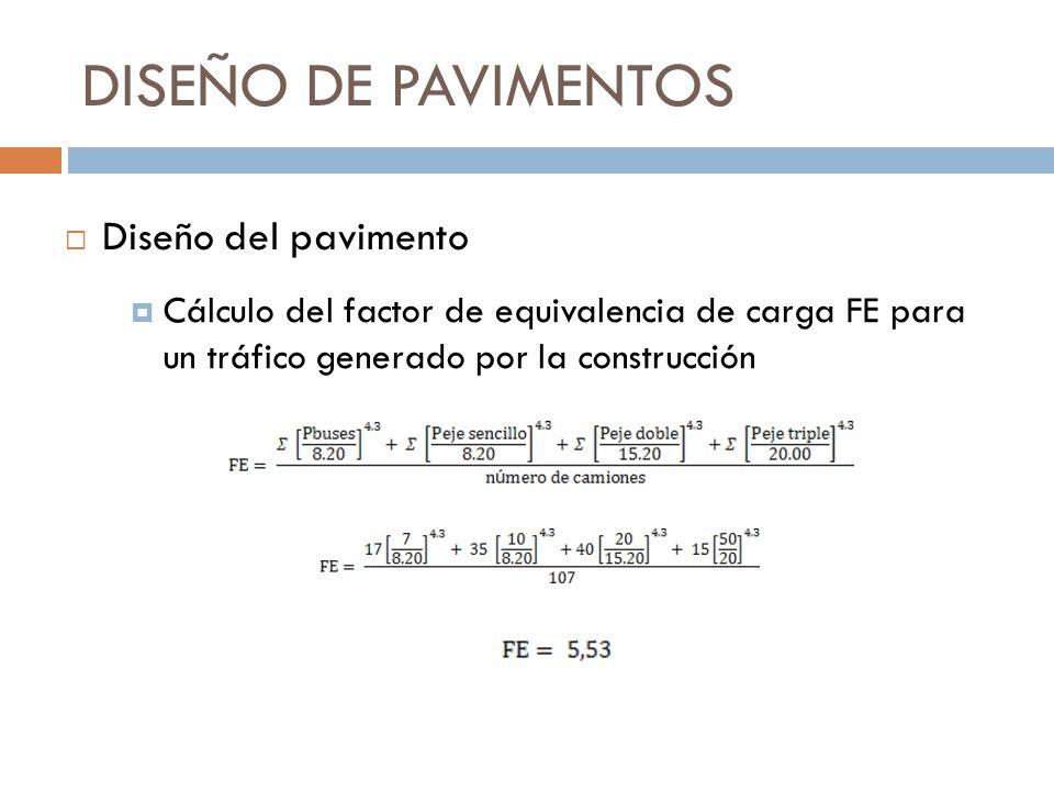 DISEÑO DE PAVIMENTOS Cálculo del factor de equivalencia de carga FE para un tráfico generado por la construcción Diseño del pavimento