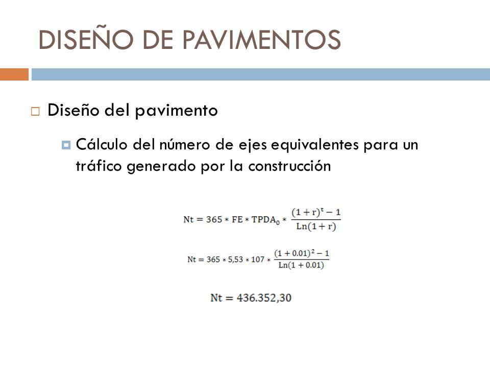 DISEÑO DE PAVIMENTOS Cálculo del número de ejes equivalentes para un tráfico generado por la construcción Diseño del pavimento