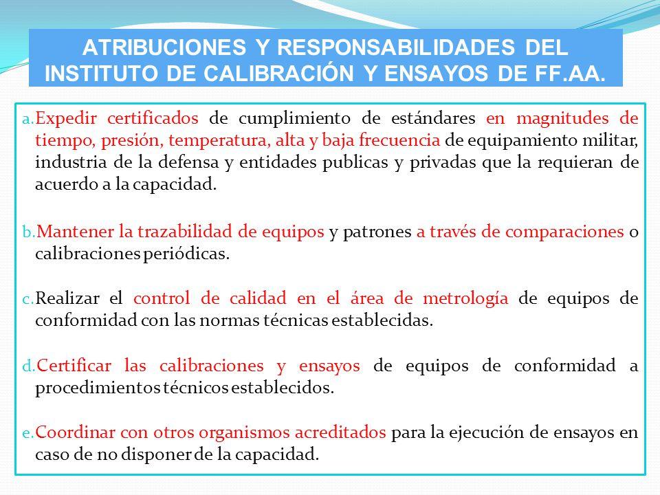 a. Expedir certificados de cumplimiento de estándares en magnitudes de tiempo, presión, temperatura, alta y baja frecuencia de equipamiento militar, i
