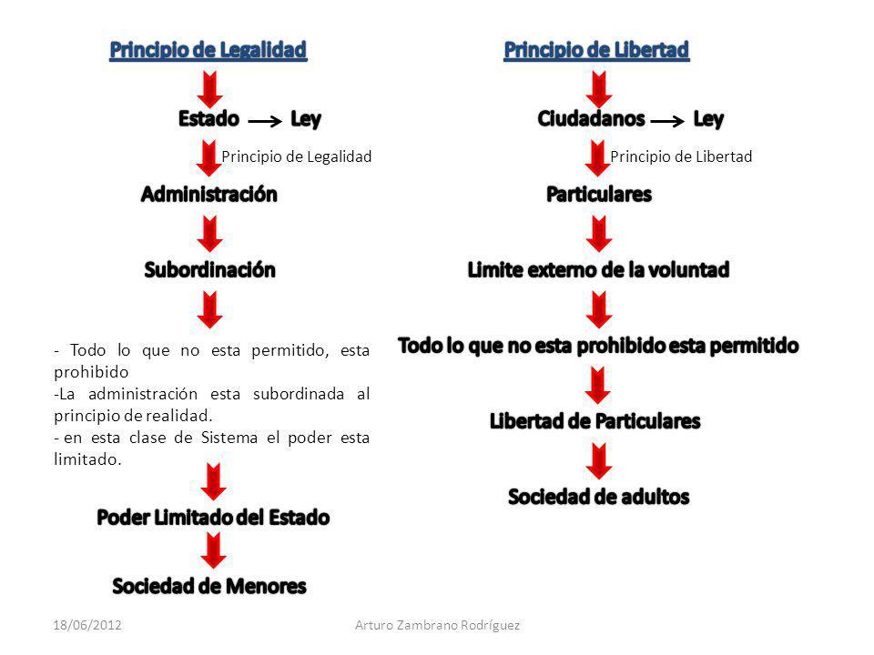 Principio de LibertadPrincipio de Legalidad - Todo lo que no esta permitido, esta prohibido -La administración esta subordinada al principio de realid