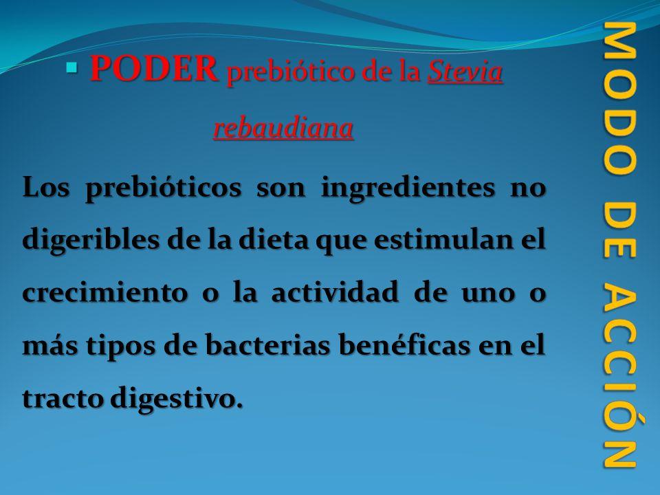 PODER prebiótico de la Stevia rebaudiana PODER prebiótico de la Stevia rebaudiana Los prebióticos son ingredientes no digeribles de la dieta que estim