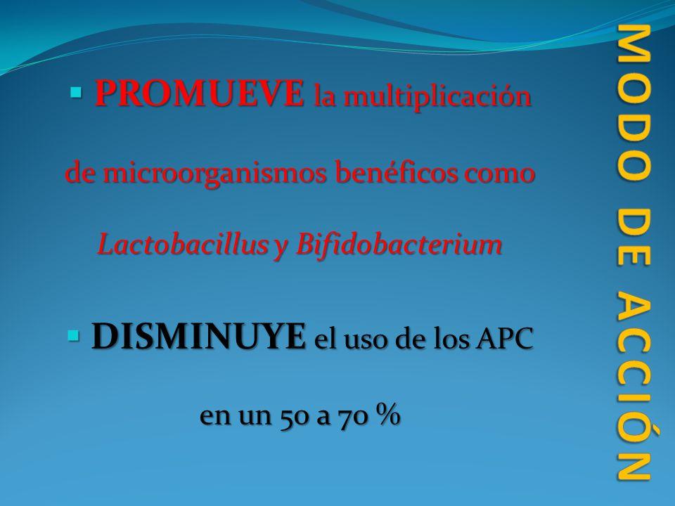 PROMUEVE la multiplicación de microorganismos benéficos como Lactobacillus y Bifidobacterium PROMUEVE la multiplicación de microorganismos benéficos c