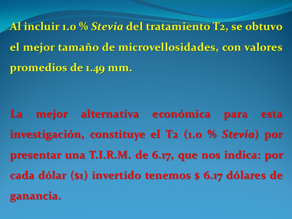 Al incluir 1.0 % Stevia del tratamiento T2, se obtuvo el mejor tamaño de microvellosidades, con valores promedios de 1.49 mm. La mejor alternativa eco