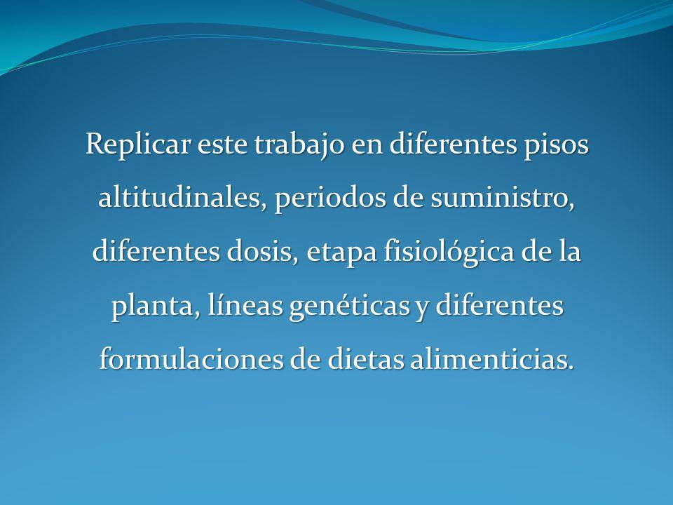 Replicar este trabajo en diferentes pisos altitudinales, periodos de suministro, diferentes dosis, etapa fisiológica de la planta, líneas genéticas y