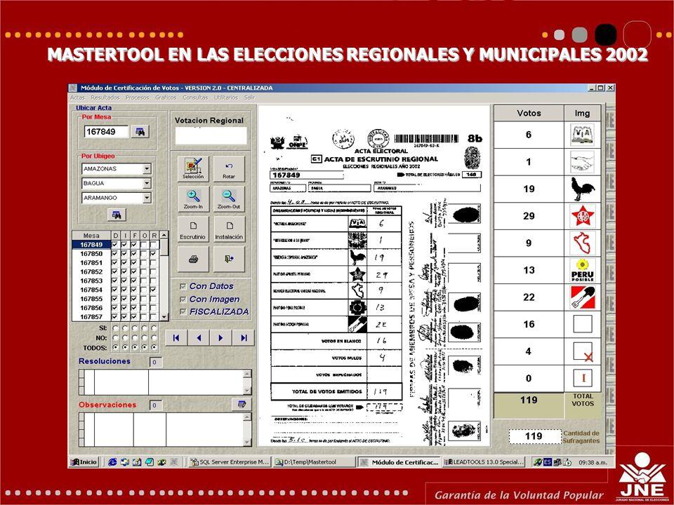 MASTERTOOL EN LAS ELECCIONES REGIONALES Y MUNICIPALES 2002