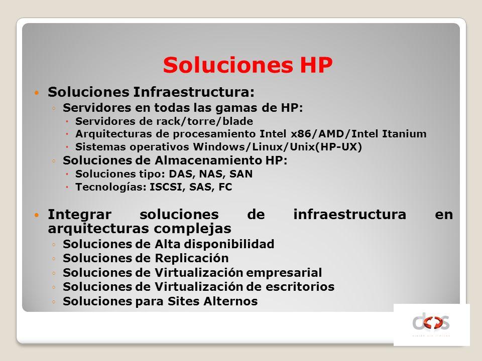 Soluciones Infraestructura: Servidores en todas las gamas de HP: Servidores de rack/torre/blade Arquitecturas de procesamiento Intel x86/AMD/Intel Ita