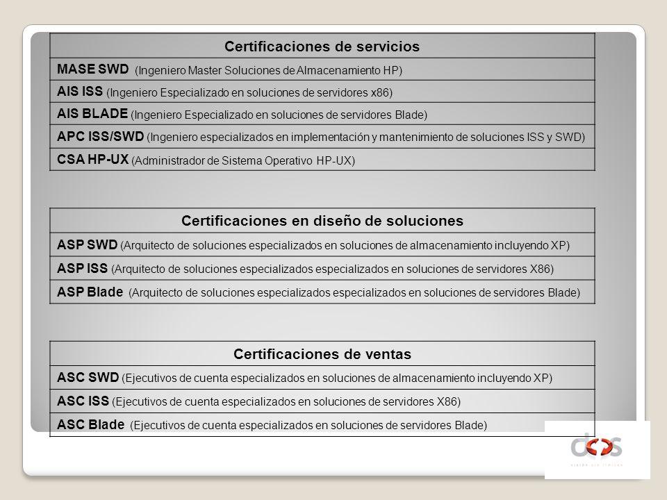 Certificaciones de servicios MASE SWD (Ingeniero Master Soluciones de Almacenamiento HP) AIS ISS (Ingeniero Especializado en soluciones de servidores