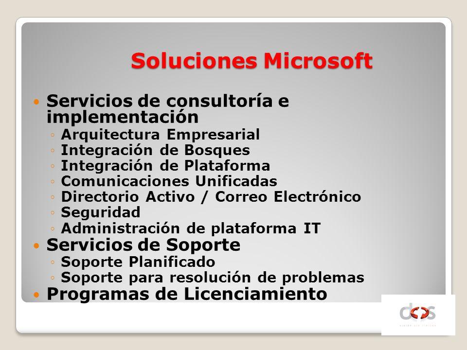 Soluciones Microsoft Servicios de consultoría e implementación Arquitectura Empresarial Integración de Bosques Integración de Plataforma Comunicacione