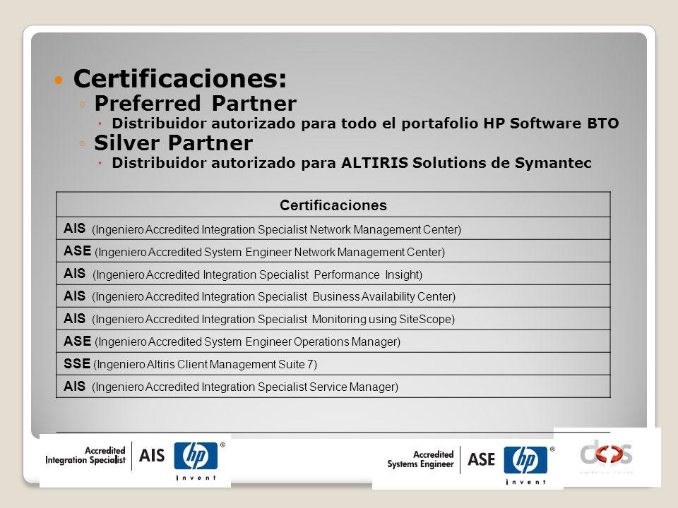 Certificaciones: Preferred Partner Distribuidor autorizado para todo el portafolio HP Software BTO Silver Partner Distribuidor autorizado para ALTIRIS