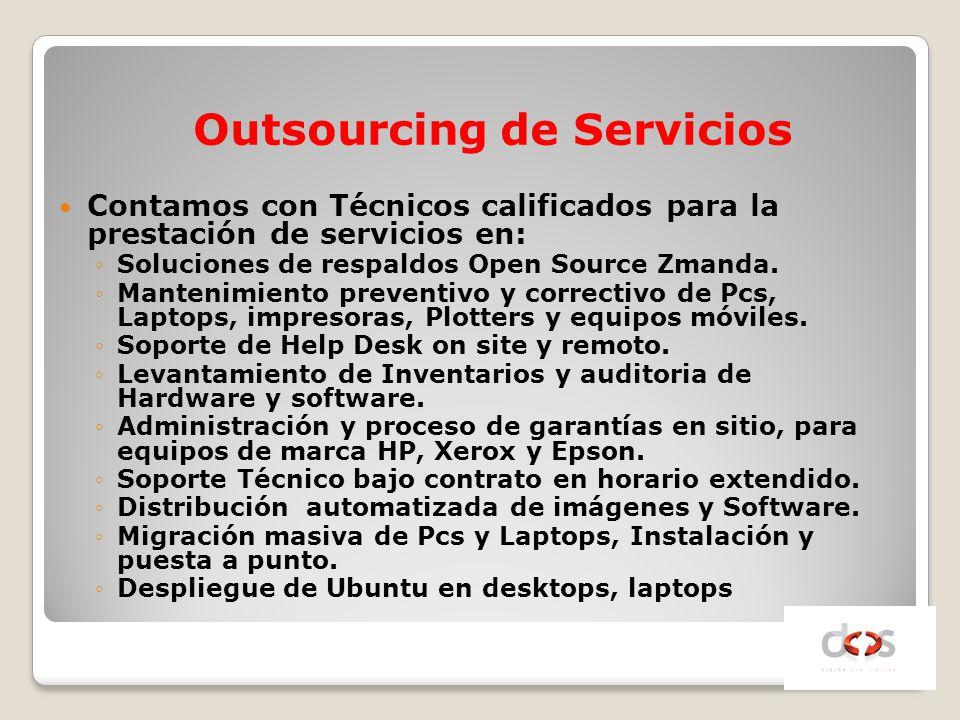 Contamos con Técnicos calificados para la prestación de servicios en: Soluciones de respaldos Open Source Zmanda. Mantenimiento preventivo y correctiv
